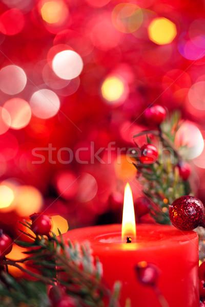 Noel dekorasyon mum kırmızı tatil ışıklar Stok fotoğraf © Vitalina_Rybakova