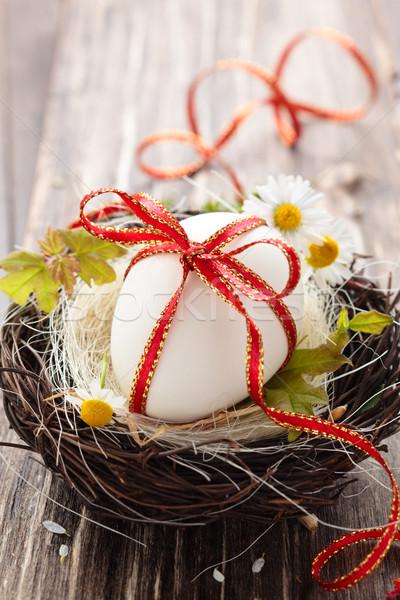 Easter egg nest witte ei houten Pasen Stockfoto © Vitalina_Rybakova