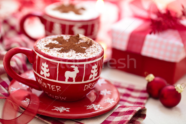 Forró csokoládé karácsony nap díszített csésze ünnepek Stock fotó © Vitalina_Rybakova