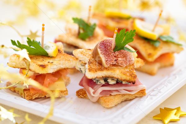 Star gerookte zalm ham kaas voedsel Stockfoto © Vitalina_Rybakova
