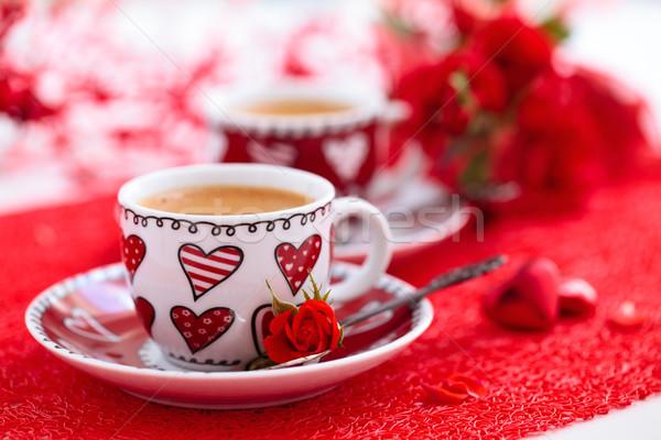 コーヒー 日 カップ バラ 花 結婚式 ストックフォト © Vitalina_Rybakova