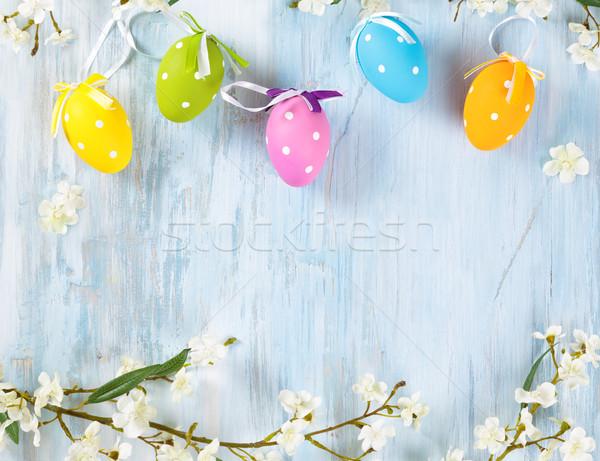 Húsvéti tojások keret tavaszi virágok színes virág tavasz Stock fotó © Vitalina_Rybakova