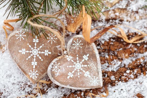 Stock fotó: Karácsony · dekoráció · fából · készült · szívek · textúra · szeretet