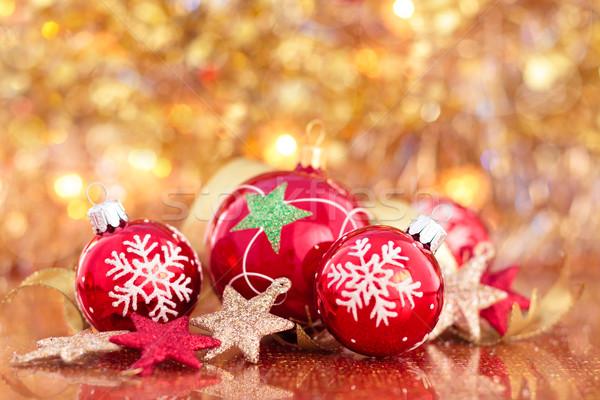 Christmas decoratie sterren Rood vakantie Stockfoto © Vitalina_Rybakova
