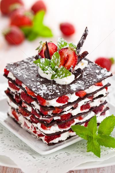 チョコレート デザート イチゴ ホイップクリーム ミント フルーツ ストックフォト © Vitalina_Rybakova