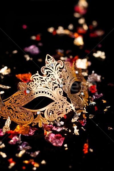 Сток-фото: карнавальных · маске · черный · фон · искусства