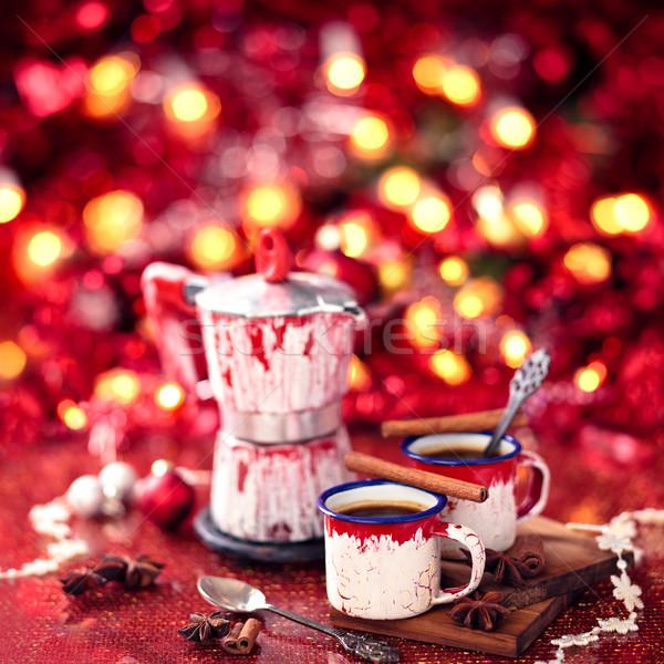 Megőrzött olasz kávé karácsony ánizs fahéj Stock fotó © Vitalina_Rybakova