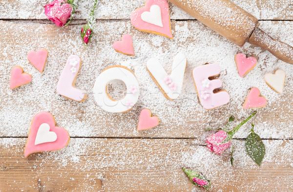 Sevmek kurabiye mektup gün düğün eski Stok fotoğraf © Vitalina_Rybakova