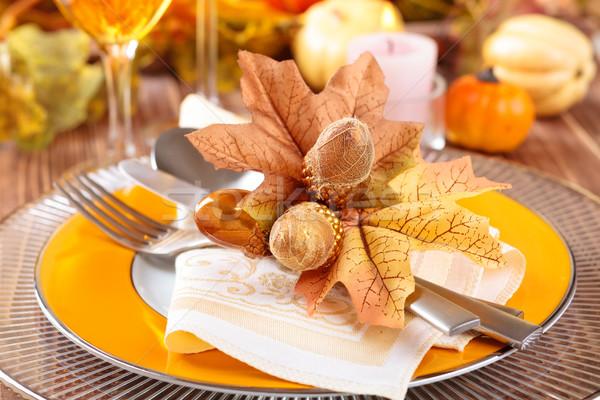 Ação de graças jantar decoração outono lugar folhas Foto stock © Vitalina_Rybakova