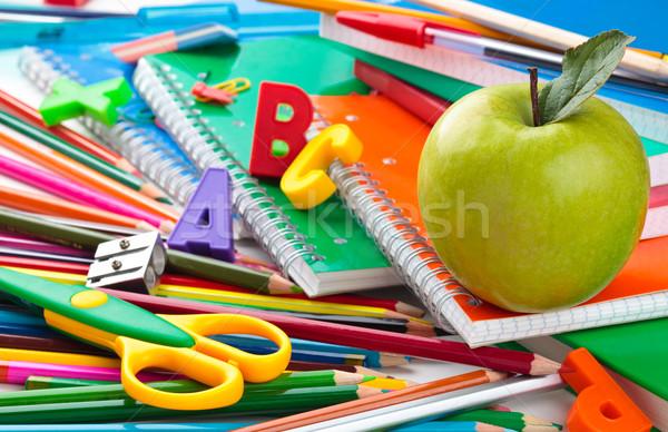 Tanszerek üzlet könyv iskola alma ceruza Stock fotó © Vitalina_Rybakova