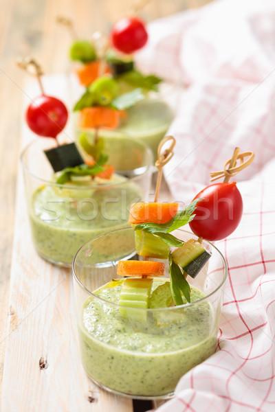 Groene room soep plantaardige koud voedsel Stockfoto © Vitalina_Rybakova