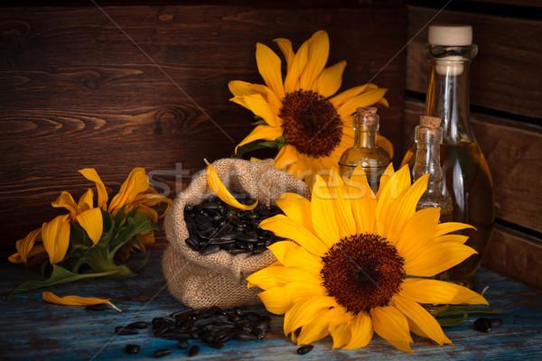 ひまわり ひまわり油 ヒマワリ 種子 素朴な ガラス ストックフォト © Vitalina_Rybakova
