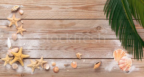 Fa textúra keret kagylók pálmalevelek rusztikus fából készült Stock fotó © Vitalina_Rybakova