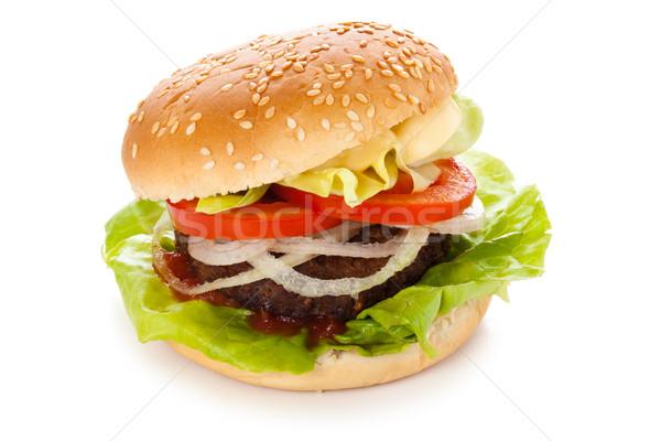 Smaczny hamburger świeże sałata pomidorów odizolowany Zdjęcia stock © Vitalina_Rybakova