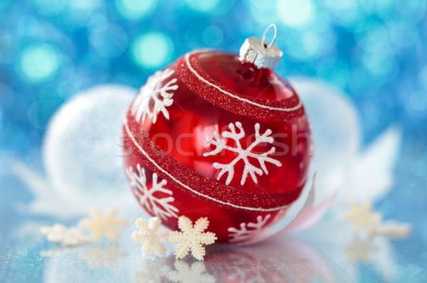 Red ball and snowflakes. Stock photo © Vitalina_Rybakova