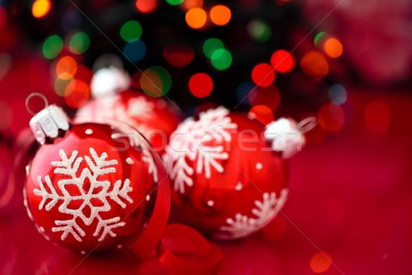 Christmas ornament Rood geschilderd sneeuwvlokken Stockfoto © Vitalina_Rybakova