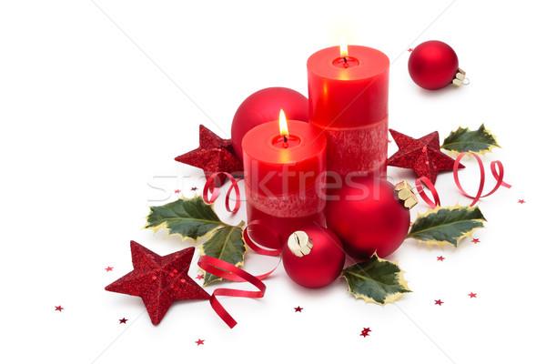 Stockfoto: Christmas · ornament · decoratie · kaars · geïsoleerd · witte