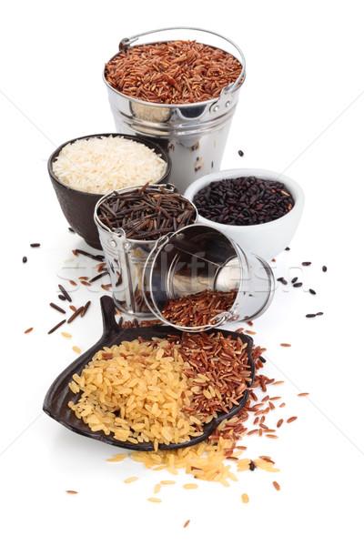 Verschillend rijst geïsoleerd witte textuur voedsel Stockfoto © Vitalina_Rybakova