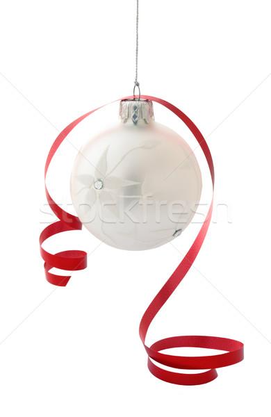 Christmas decoratie witte bal geïsoleerd Stockfoto © Vitalina_Rybakova
