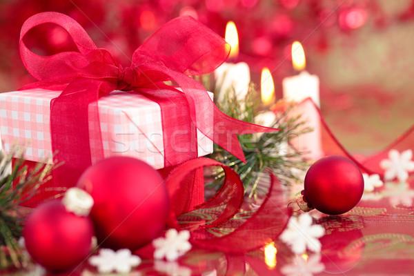 Rood christmas klein geschenk kaarsen Stockfoto © Vitalina_Rybakova