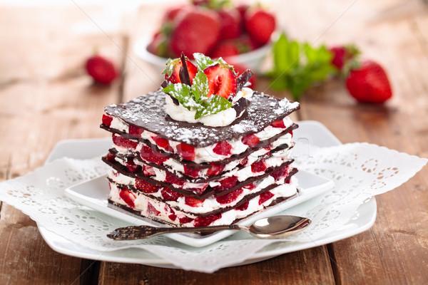チョコレート デザート ミント イチゴ ホイップクリーム フルーツ ストックフォト © Vitalina_Rybakova