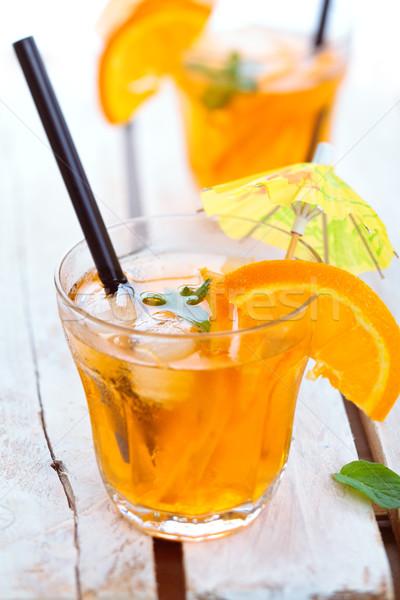 Oranje limonade mint sinaasappelen houten tafel Stockfoto © Vitalina_Rybakova