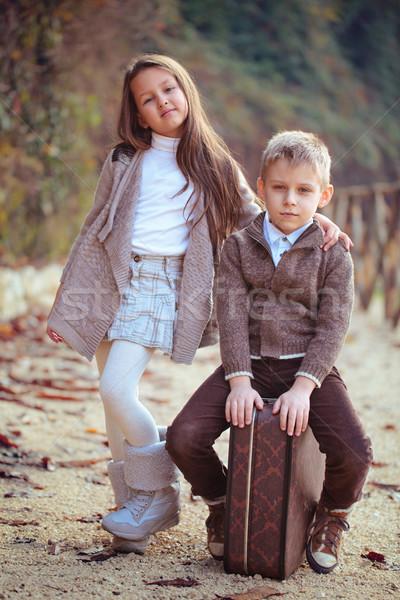 Twee gelukkig kinderen meisje jongen oude Stockfoto © Vitalina_Rybakova