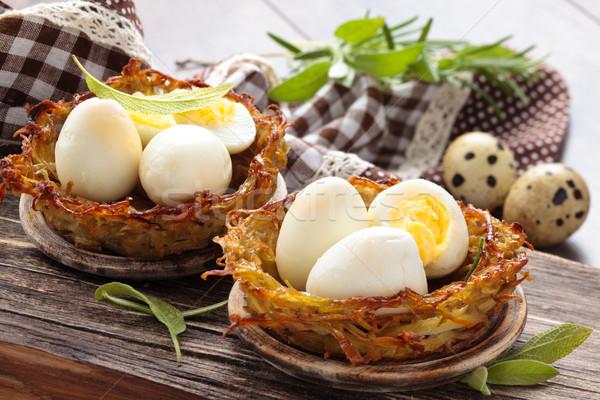 Gekookt eieren gebakken salie rosmarijn Stockfoto © Vitalina_Rybakova