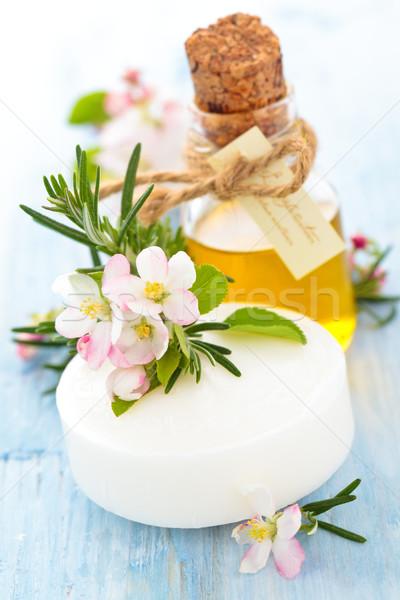 Szappan olaj gyógynövények alma virág rozmaring Stock fotó © Vitalina_Rybakova