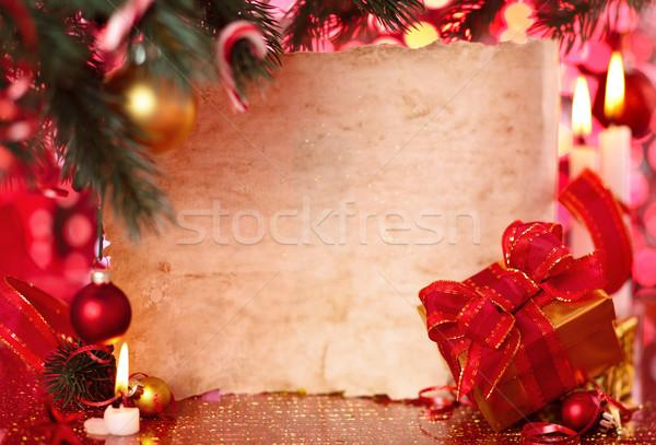 Frame christmas dag geschenk oud perkament papier Stockfoto © Vitalina_Rybakova