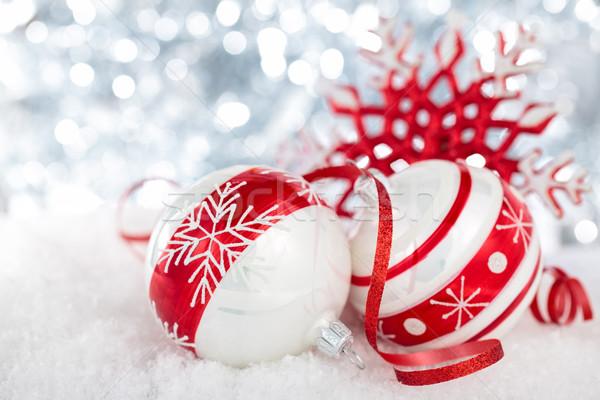 Noel süs boyalı kar taneleri şerit Stok fotoğraf © Vitalina_Rybakova