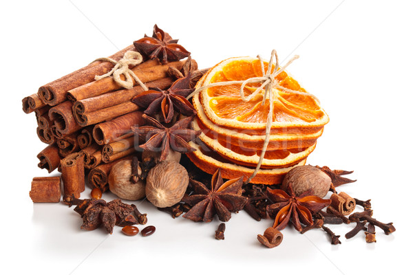 Dried Orange, Star Anise And Cinnamon Sticks  . Stock photo © Vitalina_Rybakova