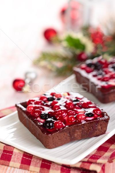 Bayas forestales Navidad día frutas torta Foto stock © Vitalina_Rybakova