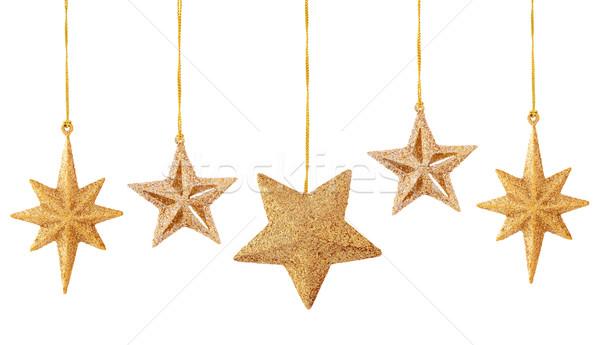 Noel dekorasyon beyaz ayarlamak altın Yıldız Stok fotoğraf © Vitalina_Rybakova