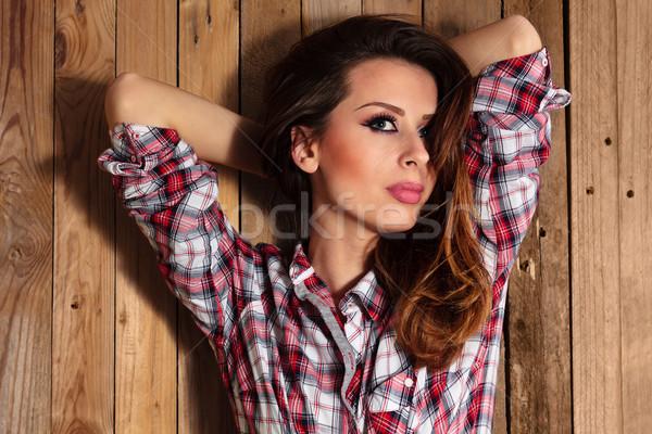 Bastante chica de campo retrato pared cara Foto stock © Vitalina_Rybakova
