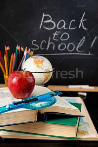 Przybory szkolne tablicy książki świecie drewna jabłko Zdjęcia stock © Vitalina_Rybakova