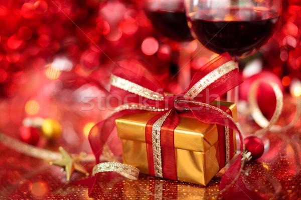 Christmas decoratie geschenk wijn vakantie wazig Stockfoto © Vitalina_Rybakova