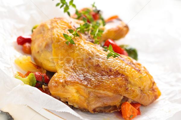 Kip been shot gebakken groenten Stockfoto © Vitalina_Rybakova