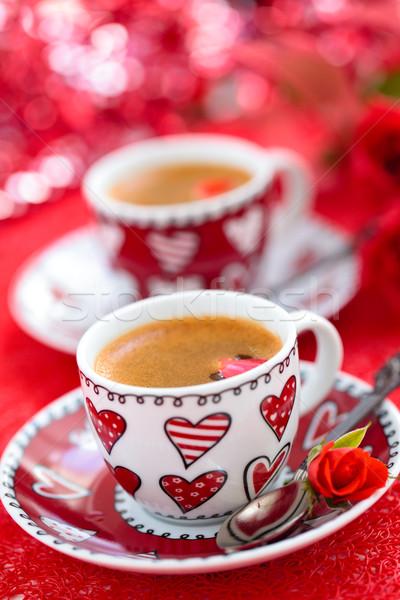 Koffie dag rozen voedsel bruiloft Stockfoto © Vitalina_Rybakova
