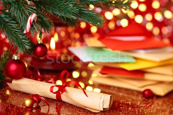 Gönderemezsiniz Noel tatil ışıklar kâğıt Stok fotoğraf © Vitalina_Rybakova