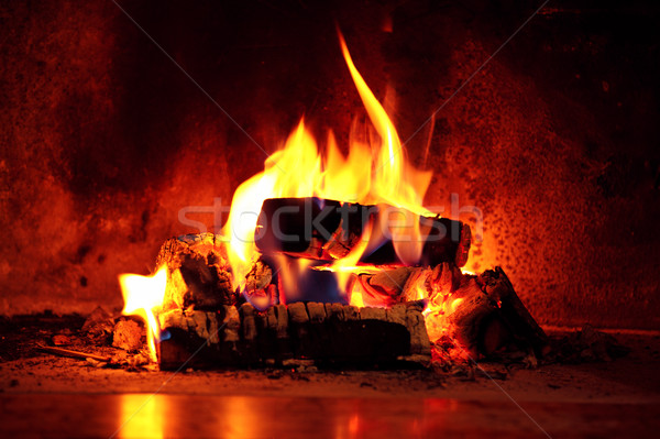 Flame in fireplace. Stock photo © Vitalina_Rybakova