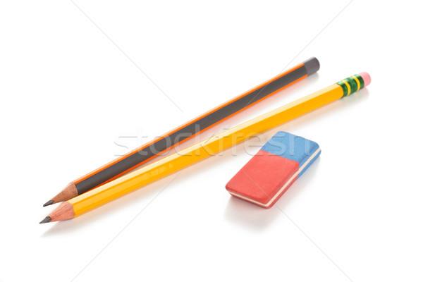 Lápis apagador isolado branco negócio madeira Foto stock © Vitalina_Rybakova