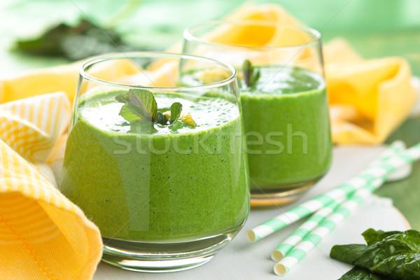 Spinazie smoothie mint bladeren citroen tabel Stockfoto © Vitalina_Rybakova