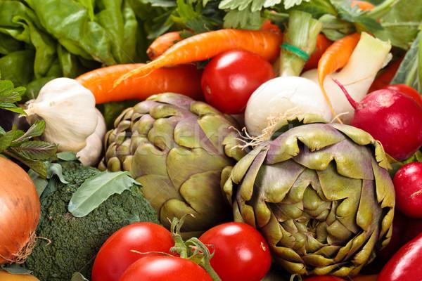 Verse groenten achtergrond gemengd vers organisch groenten Stockfoto © Vitalina_Rybakova