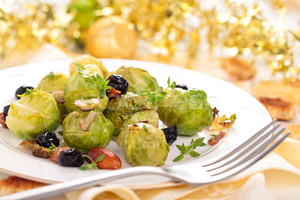 Gebakken Brussel amandelen druiven vakantie voedsel Stockfoto © Vitalina_Rybakova