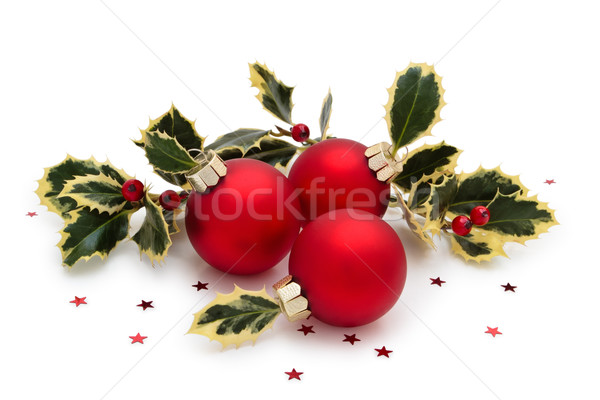 Christmas ornament bal geschilderd sneeuwvlokken bladeren Stockfoto © Vitalina_Rybakova