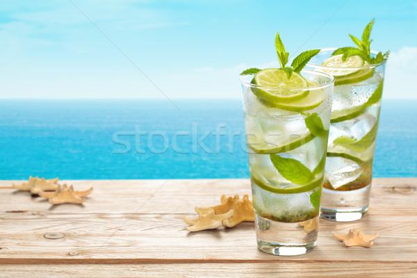 Vers mojito cocktail Blauw rustiek tabel Stockfoto © Vitalina_Rybakova