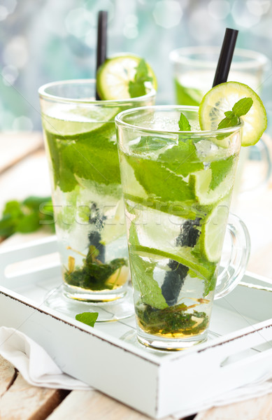 Vers mojito cocktail drinken witte Stockfoto © Vitalina_Rybakova