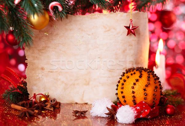 休日 キャンドル クリスマス 装飾 オレンジ ストックフォト © Vitalina_Rybakova