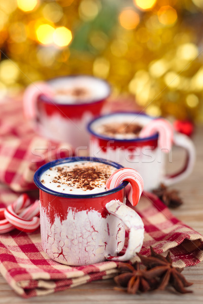 Chocolate quente natal dia decorado férias Foto stock © Vitalina_Rybakova